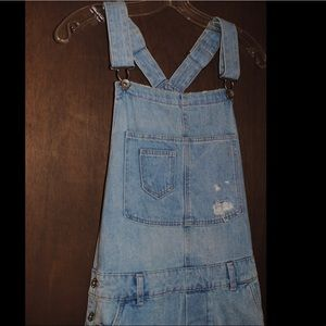 Denim Light-Washed Overalls